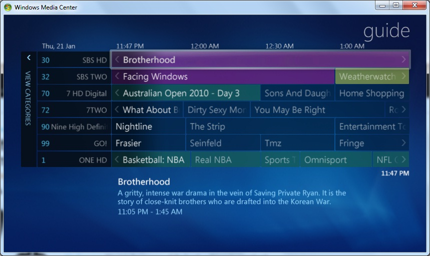 Windows Media Center Channel Guide
