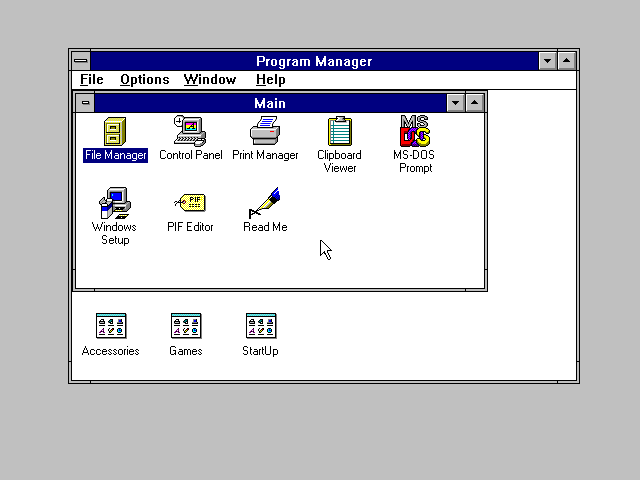 Windows 3.1 Program Manager.