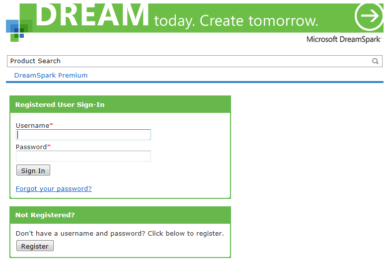 Dreamspark Premium - Sign In Page